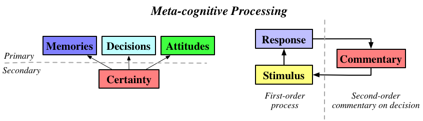 (Left) Distinction between primary and secondary thoughts. (Right) Basic model of metacognition.